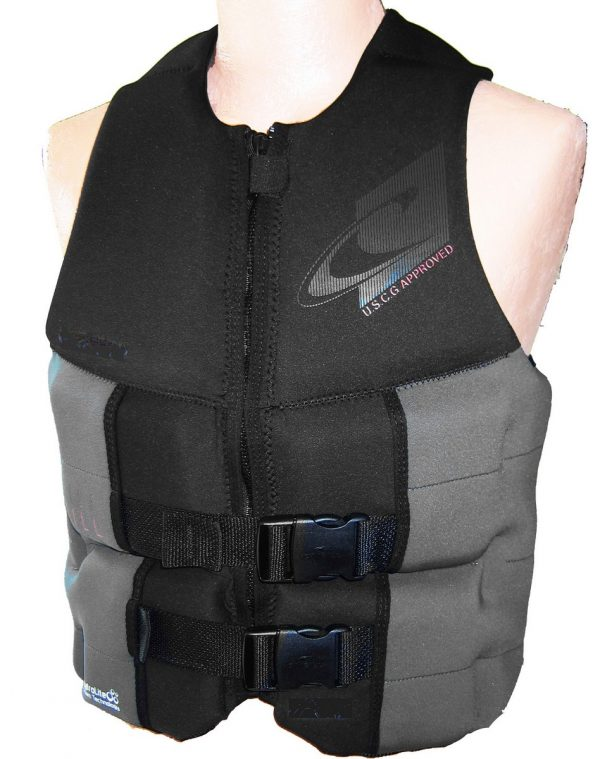 ONeill Assault Mens Neoprene Life Vest Black/Gray 2019